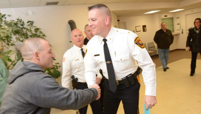 Haworth Police Chief Michael Gracey greets a well-wisher on Jan. 10, 2017.