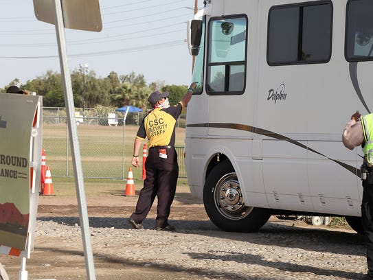 Security staff at the Stagecoach campground entrance