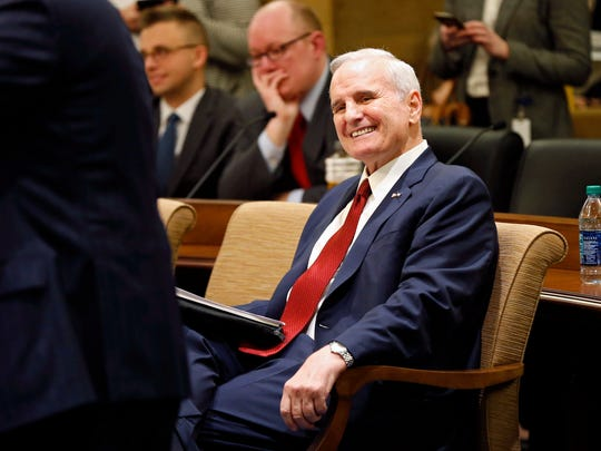 "In this Jan. 24, 2017, file photo, Minnesota Gov. Mark Dayton smiles as he waits to brief the media on his state budget in St. Paul, Minn. Dayton, who collapsed Monday evening while delivering his State of the State address, announced at the briefing that he has prostate cancer. Mayo Clinic spokesman Karl Oestreich said Thursday, Feb. 2, 2017, that Dayton's cancer hasn't spread beyond his prostate and is curable. He says Dayton should be able to continue serving as governor ""without significant interruption."""