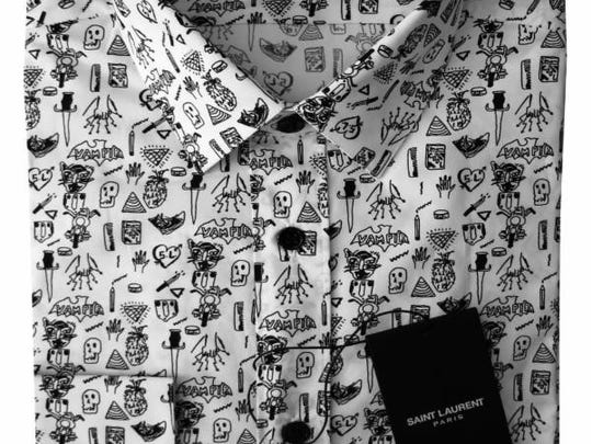"""The Saint Laurent men's Fall/Winter 2014 collection will feature Seth Bogart's """"Hunx Notebook"""" print on poplin button-down shirts."""