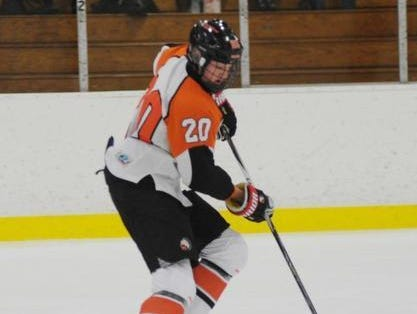 Junior Jack Clement scored one of Rice's six goals in a big win over Trenton Saturday at the Kennedy Ice Arena.