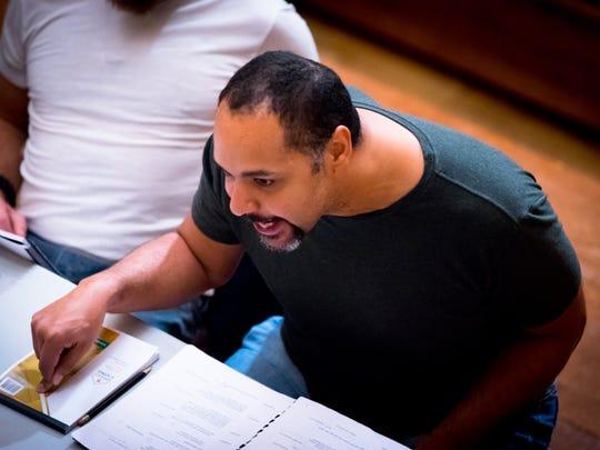 "René Thornton, Jr. (Prospero) in rehearsal for ""The"