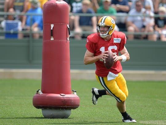 Quarterback Scott Tolzien (16) during Green Bay Packers Training Camp at Ray Nitschke Field August 10, 2015.