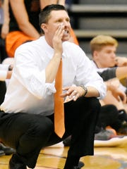 Head coach Matt Wilson, seen here in a file photo, watched his Northeastern Bobcats survive a five-set thriller against Exeter Township on Monday night.