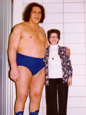 """Christine """"Teeny"""" Jarrett with superstar Andre the Giant."""