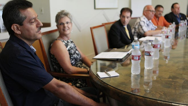 Cathedral City council candidate Sergio Espercueta speaks to The Desert Sun editorial board on Sept. 10 in Palm Springs.