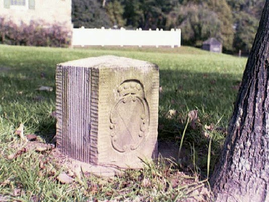 A replica of an orginal crownstone at mile 50 on the Mason-Dixon line depicts the Calvert family crest (MD). The original was taken off the line and taken to a historical society in Maryland. Submitted