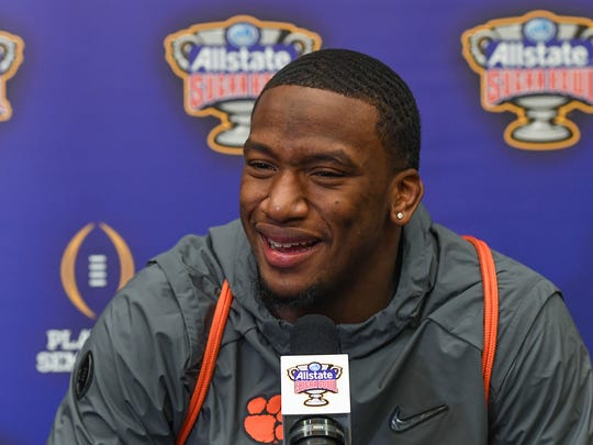 Clemson defensive lineman Clelin Ferrell answers questions from the media during a Sugar Bowl press conference in New Orleans on Thursday, December 28, 2017.