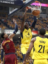 Indiana Pacers guard Victor Oladipo (4) slams down