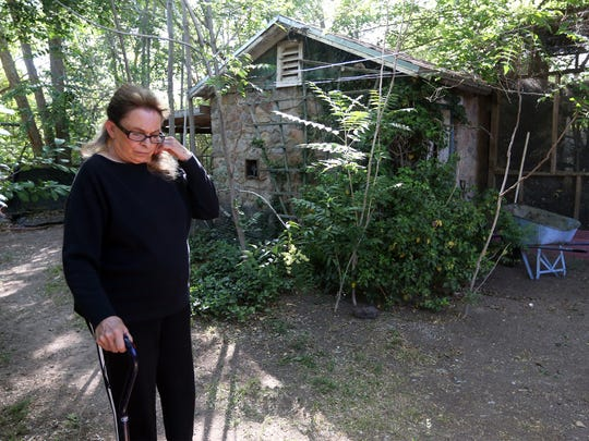 Carol Miller swats gnats flying around her face Tuesday in the backyard of her home in the 4000 block of Emory Road in El Paso's Upper Valley. Miller, who operates an injured bird sanctuary on her 2-acre property, said swarms of biting gnats have appeared following the first irrigation of the season.