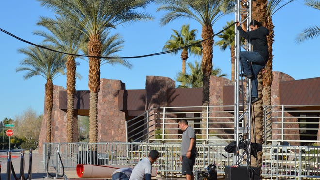 Crews on Friday were preparing the red carpet for the Palm Springs International Film Festival Awards Gala, which will be held Saturday night.