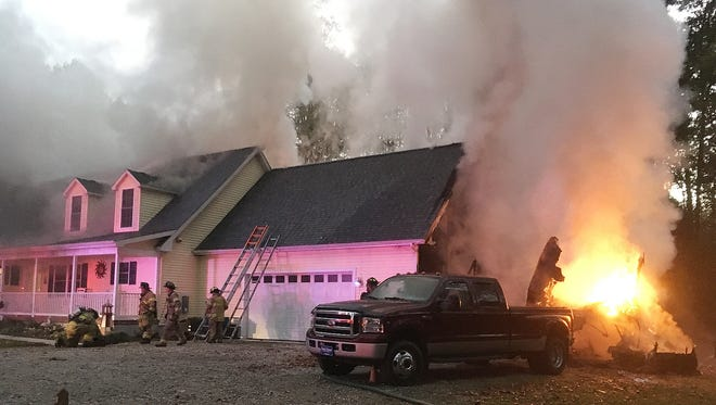 Firefighters from Lewes, Rehoboth Beach, Indian River, Millsboro, Milton responded to a camper fire that spread to a residence on Beauchamp Lane off of Beaver Dam Road near Harbeson on Friday.