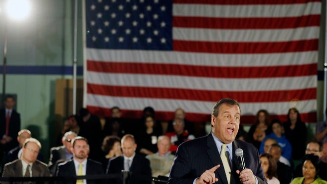New Jersey Gov. Chris Christie addresses a gathering during a town hall meeting Thursday, April 23, 2015, in Cedar Grove, N.J.