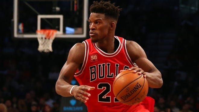 Chicago Bulls guard Jimmy Butler drives to the net in the fourth quarter against the Brooklyn Nets.