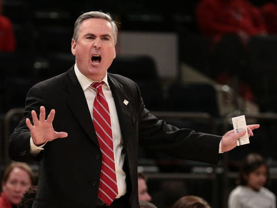 Mar 27, 2018; New York, NY, USA; Western Kentucky Hilltoppers head coach Rick Stansbury reacts during the 2018 National Invitation Tournament Championship semifinal game at Madison Square Garden.