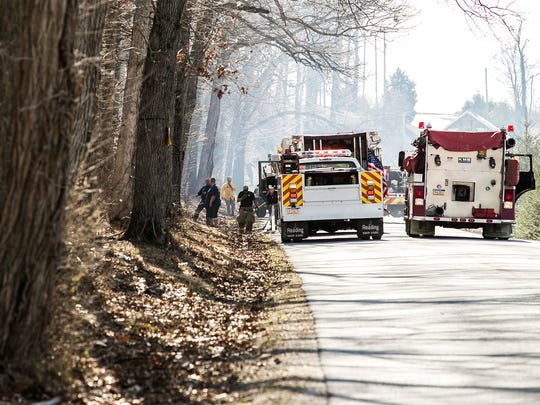 Firefighters respond to a brush fire off of Biesecker and KBS Rd. Tuesday Mar. 1, 2016 in Thomasville, Jackson, PA. Amanda J. Cain photo