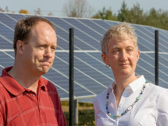 Allison and Jim Myers, of the Town of Dryden, own a section of the solar power facility built by Renovus Solar in the Town of Ulysses. Their NYSEG bill will be reduced by credits for electricity generated at the facility.