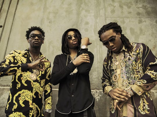 From left: Offset, Quavo and Takeoff of the hip-hop trio Migos will headline Lansing's PRIME Music Festival September 16.