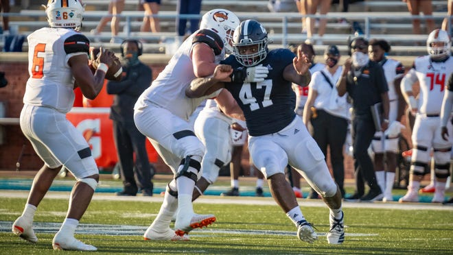 Georgia Southern outside linebacker Randy Wade Jr. rushes the passer against the Campbell University Fighting Camels on Sept. 12 at Paulson Stadium in Statesboro. Georgia Southern won 27-26. Georgia Southern plays at Louisiana on Saturday, Sept. 26.