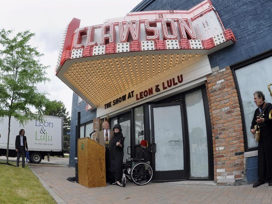 """The historic former Clawson Movie Theater, which they call """"the Show"""" is where Mary Liz Curtin and Matt Prentice will open Three Cats and a Cook, a small plates restaurant with a full bar."""