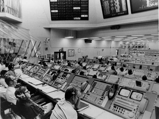 Personnel at the Kennedy Space Centre mission control prepare for the launch of the Apollo 17 lunar mission. **FOR USE WITH THIS STORY ONLY** (Central Press/Hulton Archive/Getty Images/TNS)