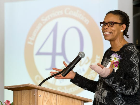 Valerie Sykes speaks Thursday after receiving the 31st
