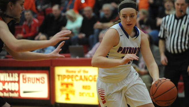 Allie Downing recently surpassed the 1,000-point milestone for Tri-Village and has been a key of the Patriots' 10-0 start.