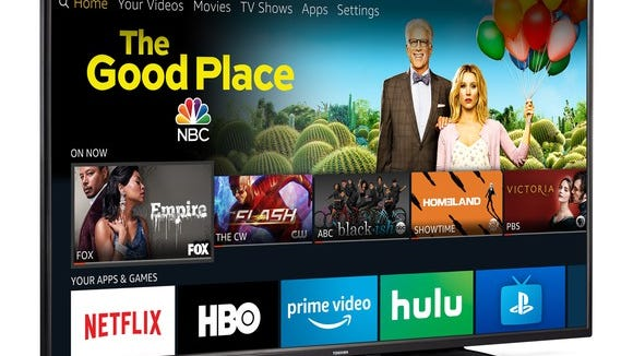 The screen of an Amazon Fire TV Edition smart television.