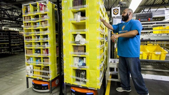A worker in an Amazon fulfillment center.