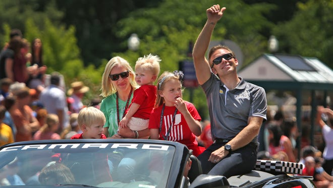 Ed Carpenter rode with his family in the 500 Festival Parade.