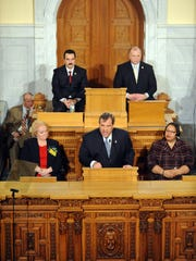 Gov. Chris Christie gives the State of the State Address in front of a joint session in the Assembly Chambers in January 2014.
