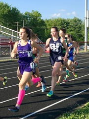 Mount Gilead sophomore Baylee Hack makes a move during last week's Division III girls 1600-meter run at the Fairfield Union regional. Hack won the 1600 and also qualified for state in the 3200.