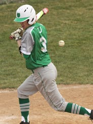 Clear Fork's Mason Cox is hit by the ball while playing