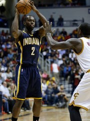 Indiana Pacers guard Rodney Stuckey, shown here in the team's Oct.15 preseason game against the Cleveland Cavaliers, sprained his right foot in that same game. Stuckey is out for the rest of the Pacers preseason schedule.
