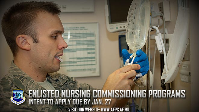The Air Force has two commissioning programs for enlisted Airmen who have, or are close to having, their nursing degrees. The Nurse Enlisted Commissioning Programs helps you finish your degree while the Direct Enlisted Commissioning Program is open to enlisted Airmen with a nursing degree and license. Initial applications are due to the Air Force Personnel Center by Jan. 27, 2017.