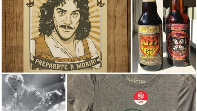 """Our stocking-stuffer suggestions include, clockwise from top left, a """"Princess Bride""""-inspired print, Kiss soft drinks, an old-school concert shirt and a singer-songwriter's biography."""
