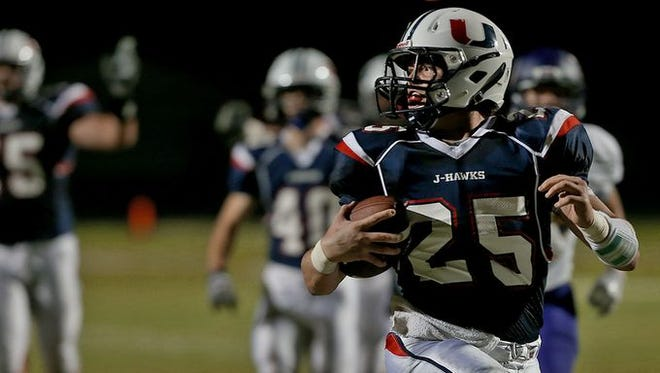 Alex Newberg rushed for 180 yards in the J-Hawks' win.