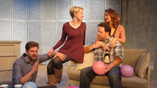 """Dustin Charles (left to right), Maria Couch, Dana Brooke and Jared Michael Delaney share space in """"Multiple Family Dwelling."""""""