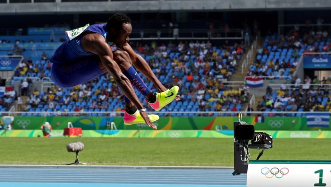 Will Claye (USA) during the men's triple jump final in the Rio 2016 Summer Olympic Games at Estadio Olimpico Joao Havelange.