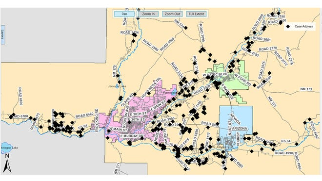The San Juan County Sheriff's Office has released a map of burglary and larceny incidents the department investigated in 2016 in connection to an alleged racketeering ring. The map does not include incidents investigated by Aztec, Bloomfield and Farmington police nor New Mexico State Police.