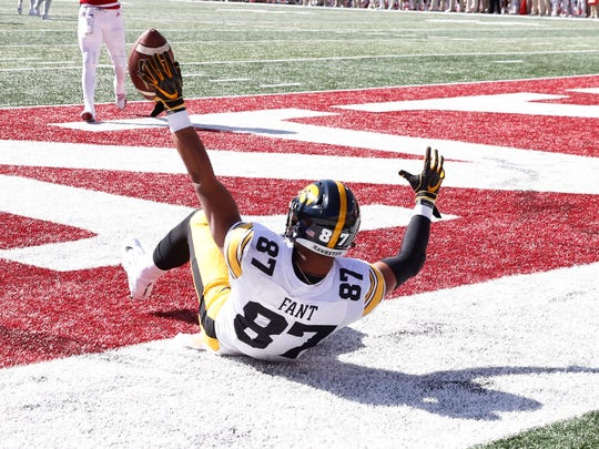 Oct 13, 2018; Bloomington, IN, USA; Iowa Hawkeyes tight end Noah Fant (87) reacts to catching a pass for a touchdown in the end zone against the Indiana Hoosiers  during the first quarter at Memorial Stadium . Mandatory Credit: Brian Spurlock-USA TODAY Sports