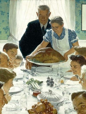 "No Norman Rockwell Thanksgiving this year. The CDC recommends a Thanksgiving ""downsize"" and offers ideas based on risk level including avoiding travel, dining with your household only, making food for others and dropping it off for them to enjoy, and throwing a virtual dinner party."