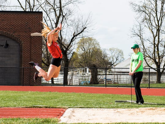 Hanover's Saranda Gerlach competes in the girls' triple jump Thursday March 31, 2016 at Sheppard-Myers Stadium.