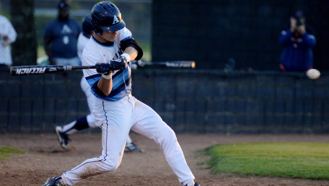 Airline's Jarrett Bamburg hits the ball during their Tuesday evening game against Captain Shreve at Airline.