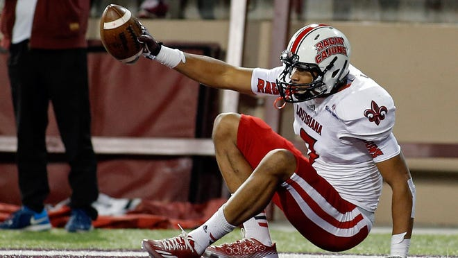 UL wide receiver Jared Johnson, shown here catching a touchdown pass at New Mexico State in 2014, will be out 4-to-5 weeks following knee surgery.