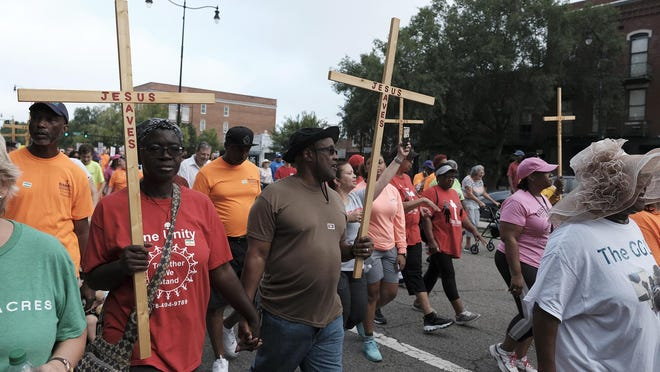 Hundreds gathered from many different churches on Aug. 17, 2019, for the fifth annual March for Jesus along Broad Street. The event has been canceled for this year.