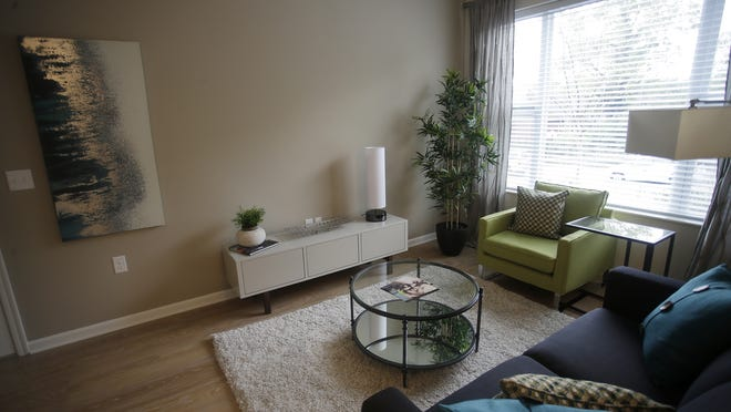 Living room at the Delta Flats apartments in Columbia Tusculum.
