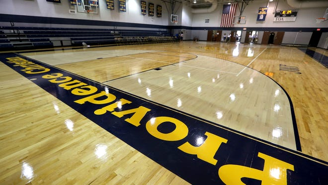 The new gym floor was one of many new sights that students were able to see on their first half day of school on Wednesday July 23, 2014, at Providence Christian Academy.