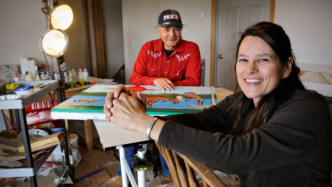 Native Skywatcher artists Annette Lee and her husband, William Wilson, create paintings Monday in their home studio near Foreston. Lee, a painter and an associate professor of astronomy and physics at St. Cloud State University, secured the $25,000 Minnesota State Arts Board grant that's funding the Skywatcher series.