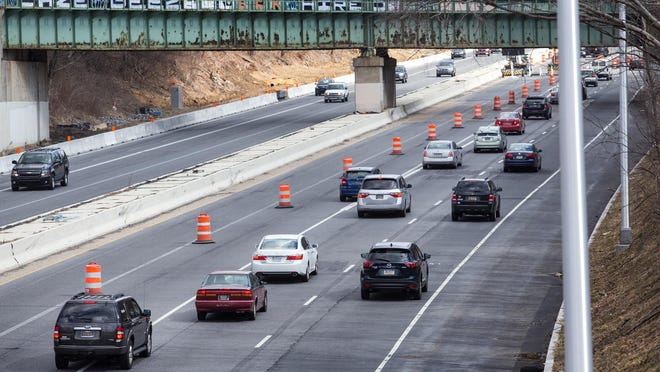 Traffic is forced off Northbound I-95 during a construction project in March near U.S. 202.